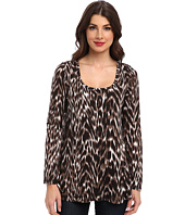 Miraclebody Jeans - Faye Animal Print Flutter Back Top w/ Body-Shaping Inner Shell