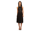 Donna Morgan Pleated Windowpane Lace Dress w/ Metallic Gold Lining (Black)