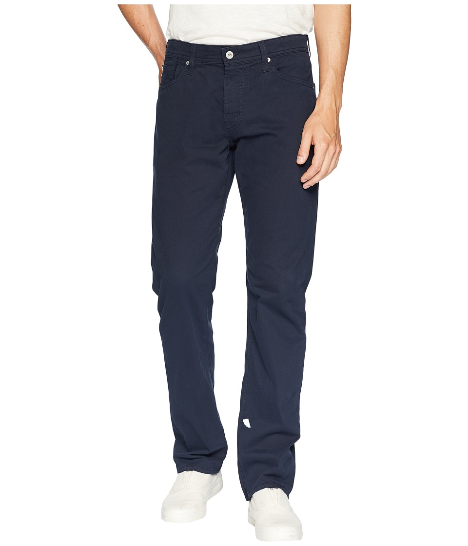 AG Adriano Goldschmied - The Graduate Tailored Straight Sueded Stretch Sateen (New Navy) Mens Casual Pants