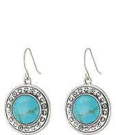 LAUREN by Ralph Lauren - Bar Harbor Etched Metal w/ Turquoise Round Cab Drop Earrings