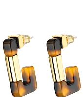LAUREN by Ralph Lauren - Bar Harbor Tortoise and Metal 3/4 Rectangular Hoop Earrings