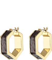 LAUREN by Ralph Lauren - Bar Harbor 22mm Leather Inlay Hexagon Click-It Hoop Earrings