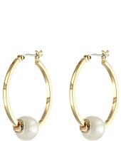 LAUREN by Ralph Lauren - Bar Harbor Click-It Hoop w/ Pearl Center Earrings