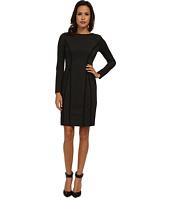 Donna Morgan - Herringbone Ponte Long Sleeve Ribbed Dress