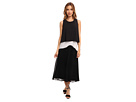Donna Morgan Crop Dress with Sunburst Pleating (Black/White Snake Multi)