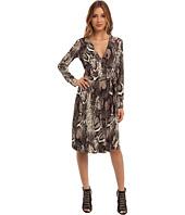 Donna Morgan - Long Sleeve Mock Wrap Dress In Python