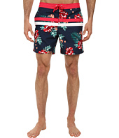 Original Penguin - Floral Print Stripe Volley Swim