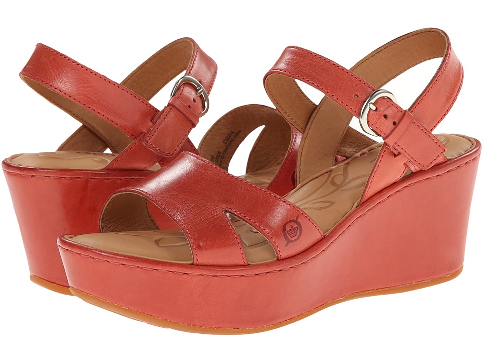 Born - Du Jour (Cherry (Red) Full-Grain Leather) Women's Wedge Shoes