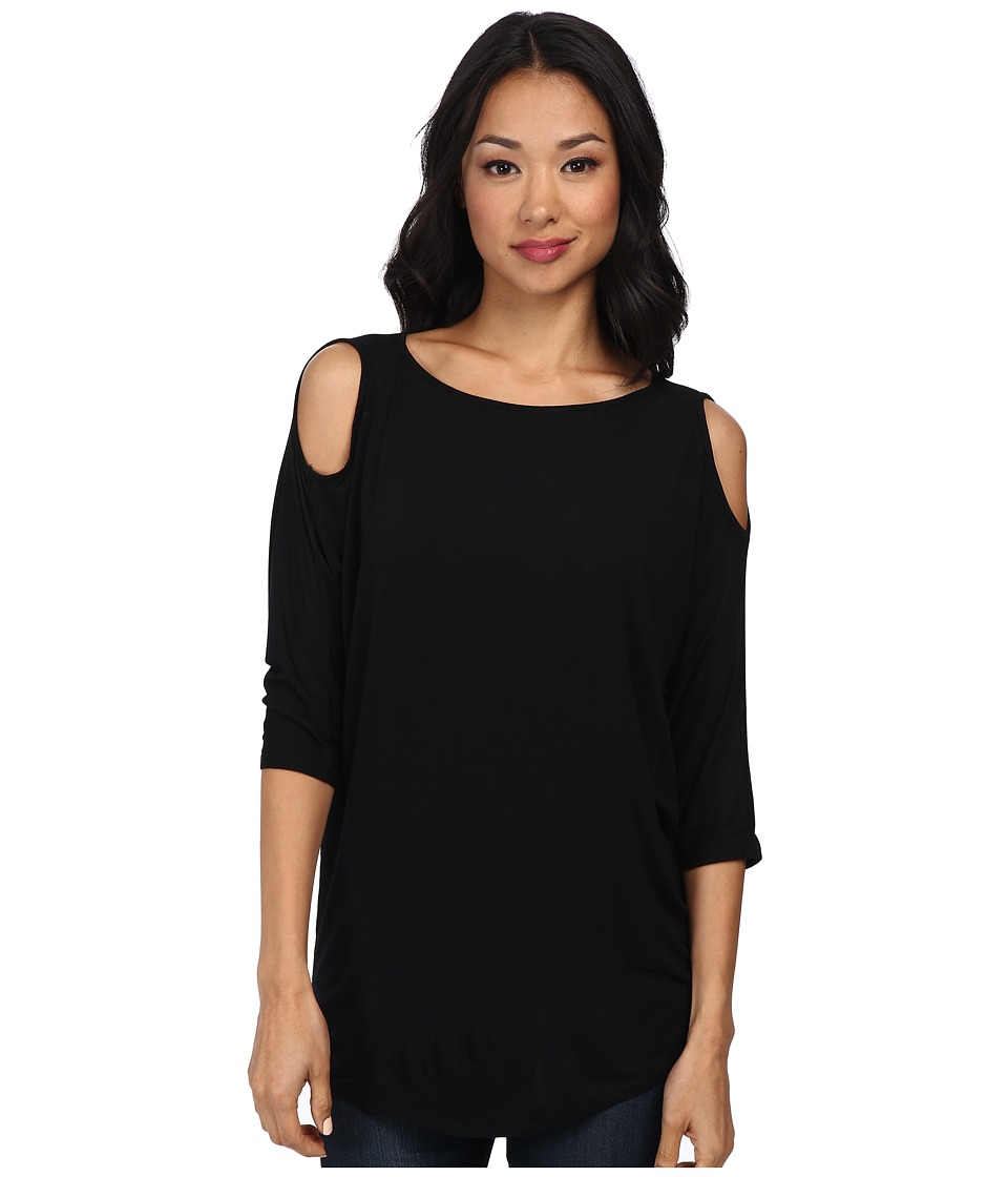 Michael Stars - Lycra Jersey 3/4 Sleeve Cold Shoulder Tunic (Black) Womens Long Sleeve Pullover
