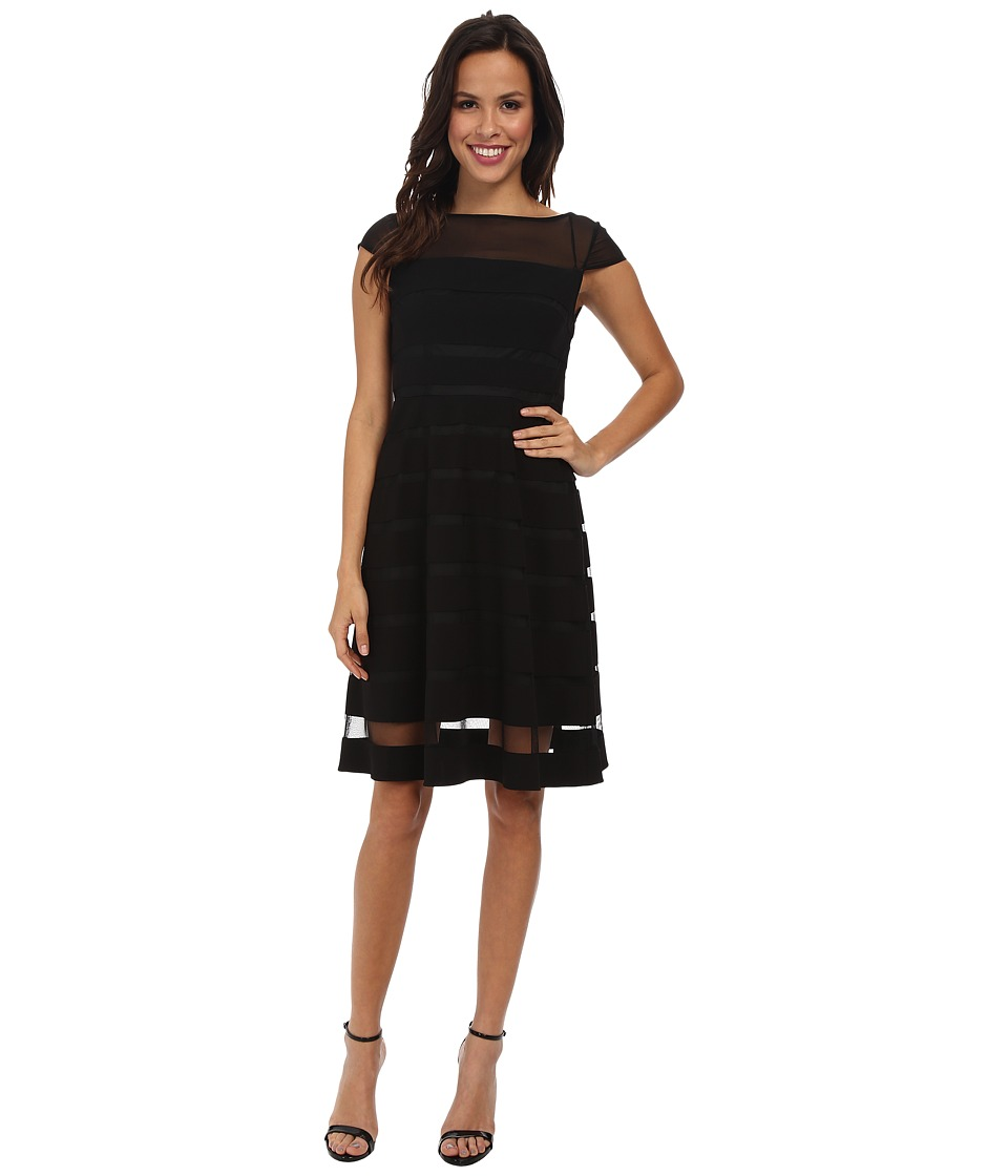 Adrianna Papell - Gradiated Chiffon Bands Dress (Black) Womens Dress