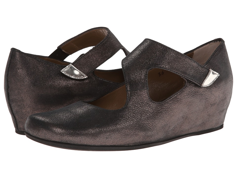Anyi Lu Shirlee Graphite Shimmer Suede Womens Wedge Shoes
