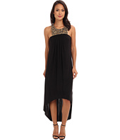 Tbags Los Angeles - Sleeveless High-Low Maxi w/ Gold Beaded Bib