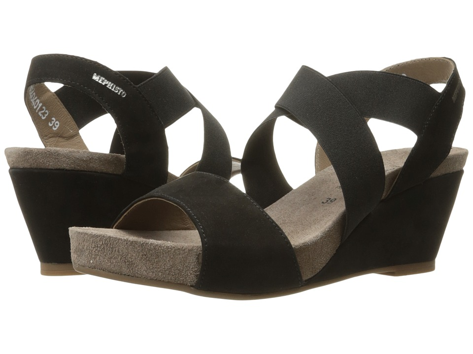 Mephisto - Barbara (Black Bucksoft) Women's Sandals