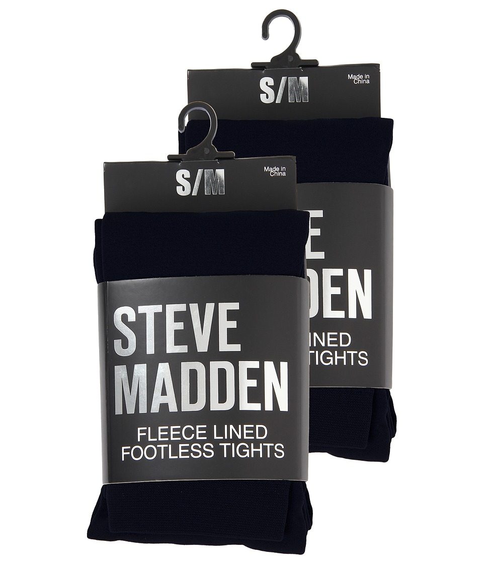 Steve Madden - 2 Pack Fleece Lined Footless Tight (Black) Hose