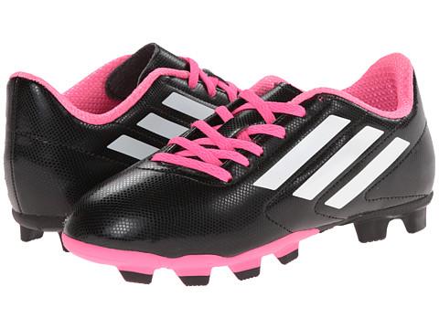 adidas Kids Conquisto FG J Soccer (Little Kid/Big Kid) - Black/White/Flash Pink