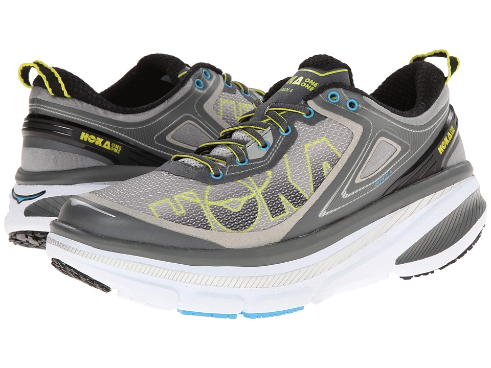Hoka One One Bondi 4 Grey/Citrus/Cyan Mens Running Shoes