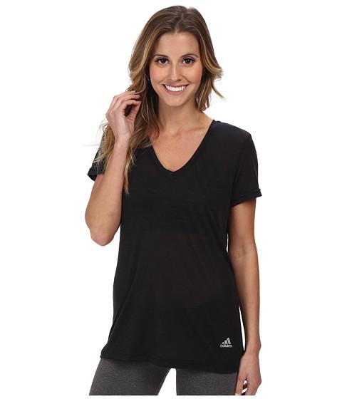 adidas - Boyfriend Deep V-Neck Tee (Black/Matte Silver) Women's T Shirt
