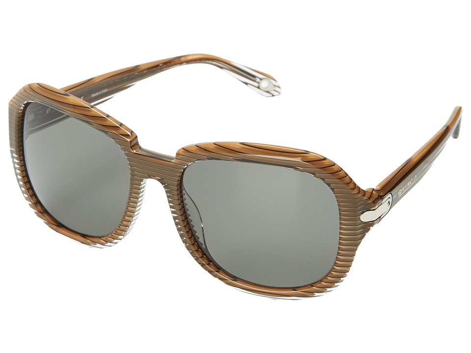 Givenchy SGV 884 Stripped Brown Silver/Grey Fashion Sunglasses