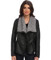 Blank NYC - Black Vegan LeatherJacket w/ Grey Shawl Collar in Stress Eater