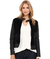 Blank NYC - Black Jacket w/ Faux Pony Hair w/ Zipper