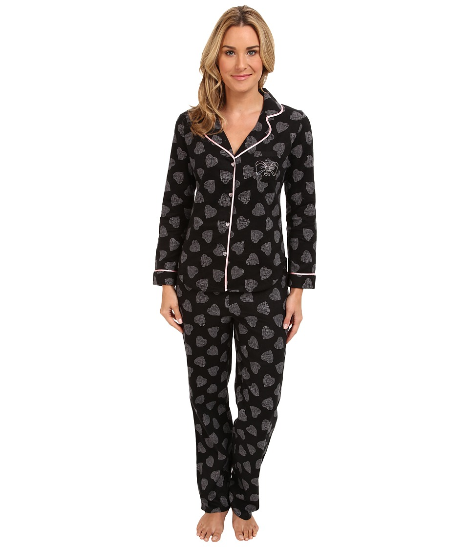 Betsey Johnson Flannel PJ (Dotted Heart Raven Black) Women's Pajama Sets