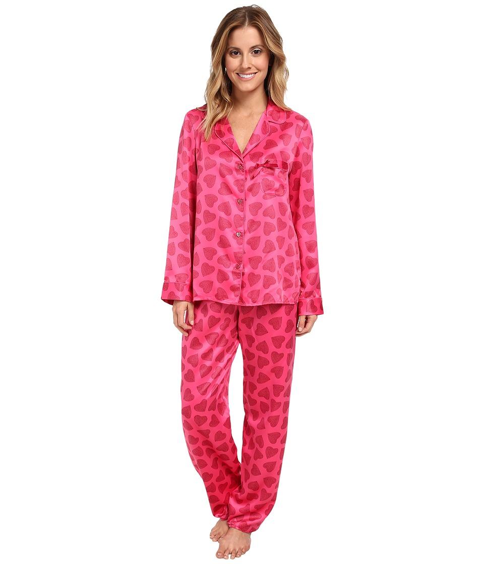 Betsey Johnson Sexy Satin PJ (Heart Me Lipstick) Women's Pajama Sets