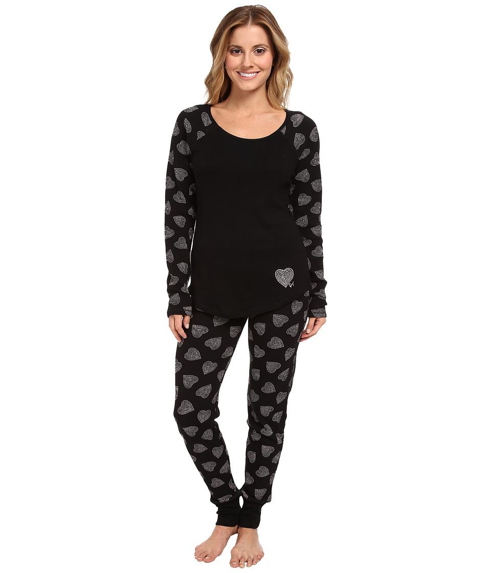 Betsey Johnson Waffle Thermal PJ Set (Dotted Heart Raven Black) Women's Pajama Sets