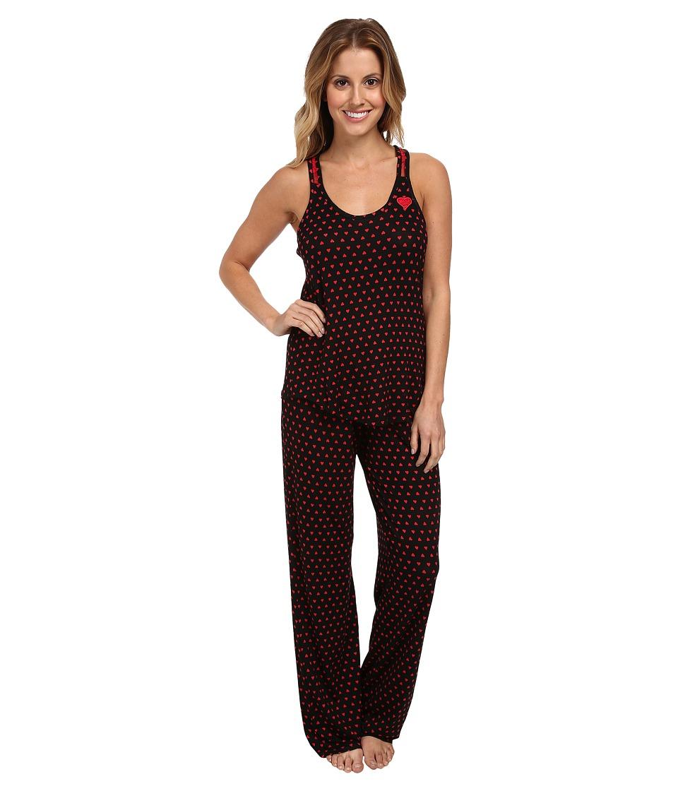 Betsey Johnson Rayon Knit PJ (Geo Hearts Raven Black) Women's Pajama Sets