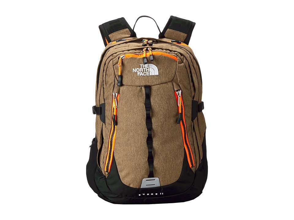 The North Face - Surge II (Utility Brown Heather/Power Orange) Backpack Bags
