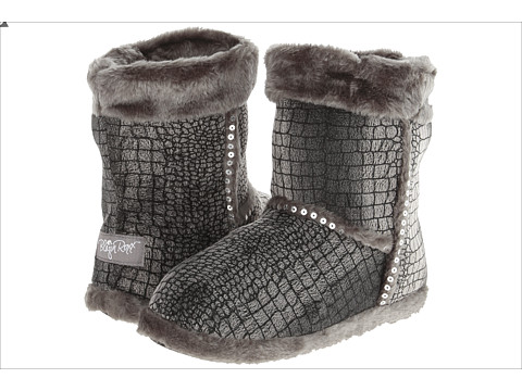M&F Western Plush Heart Sequin Bootie Slippers - Grey