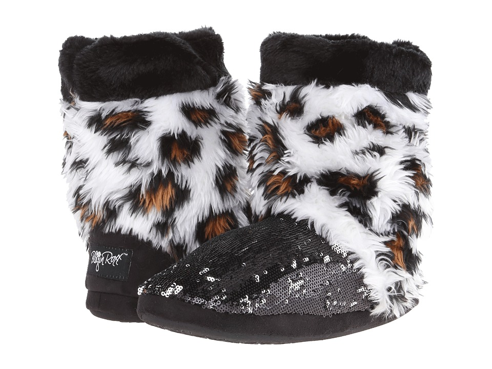 M&F Western Furry Sequin Bootie Slippers (Leopard/Black) Women