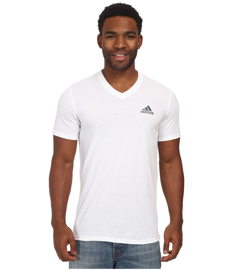 adidas - Ultimate S/S V-Neck Tee (White/DHG Solid Grey) Men