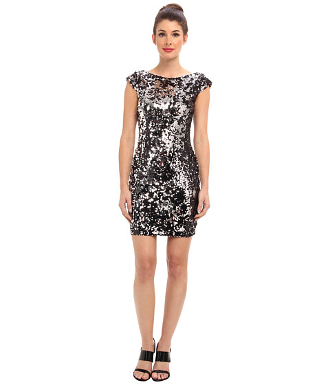 Shop Brigitte Bailey online and buy Brigitte Bailey Sequin V-Back Dress Black/Silver Online - Brigitte Bailey - Sequin V-Back Dress (Black/Silver) - Apparel: There's nothing wrong with being on everyone's radar, and you certainly will be in this dazzling party dress! ; Sheath dress in 10,000 sequins is sure to spark a convo. ; Plunging back. ; Jewel neckline. ; Cap-sleeve design. ; Exposed back zip closure. ; Straight hemline at a flirty length. ; 100% polyester; Lining: 100% polyester. ; Hand wash wash cold, line dry. ; Imported. Measurements: ; Length: 34 in ; Product measurements were taken using size SM. Please note that measurements may vary by size.