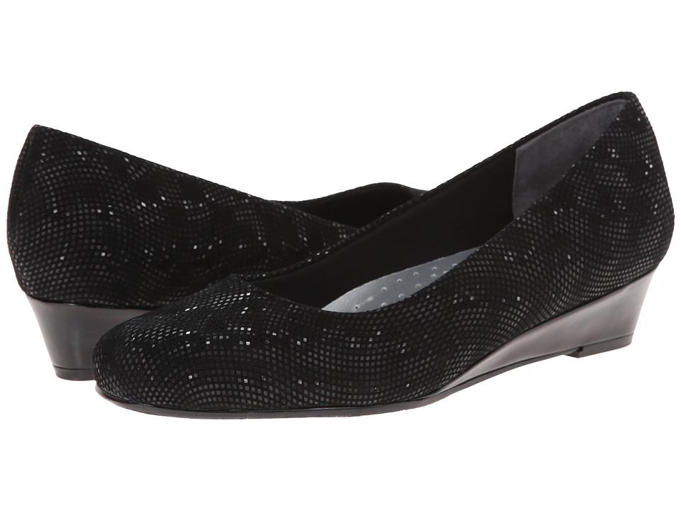 Trotters - Lauren (Black 3D Patent Suede Leather) Women