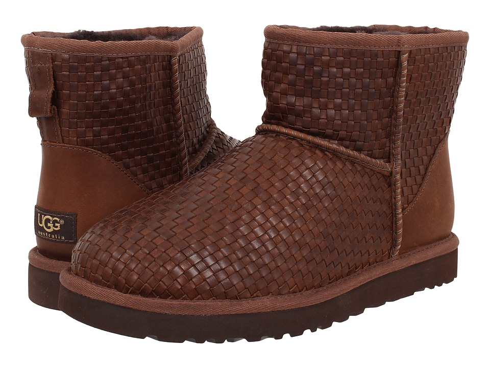 Ugg Classic Mini Woven (Cognac Leather) Men's Pull-on Boots