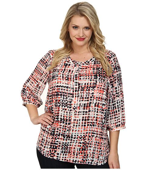 NYDJ Plus Size Plus Size Abstract Digital Print Pleat Back (Multi) Women's Blouse