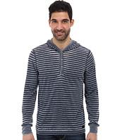 DKNY Jeans - Long Sleeve Stripe Burnout Hoodied Henley