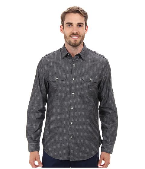 DKNY Jeans Long Sleeve Roll Tab Geo Dobby Shirt