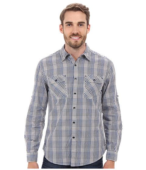 Dkny Jeans Long Sleeve Roll Tab Degradee Check Shirt