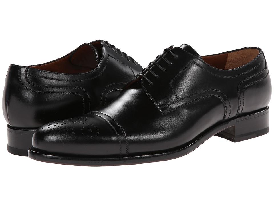a. testoni Lux Calf Cap Toe Oxford Nero Mens Lace Up Cap Toe Shoes