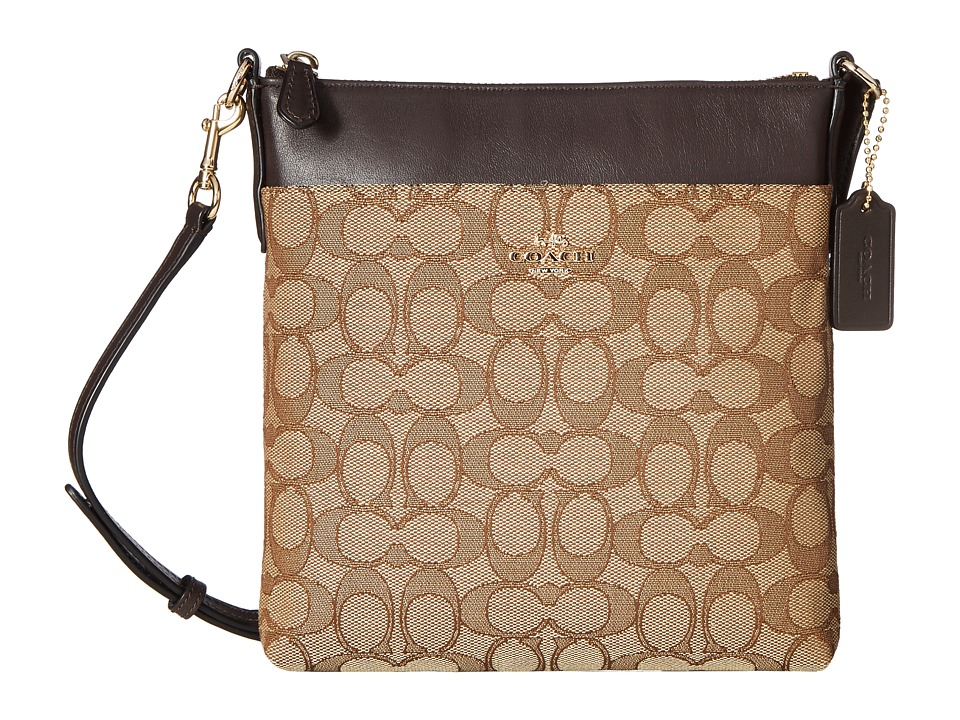 COACH - Signature North/South Swingpack (Light/Khaki/Brown) Cross Body Handbags