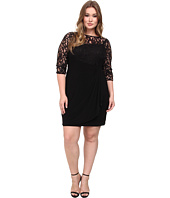 Adrianna Papell - Plus Size Rose Flounce Dress w/ Lace Combo