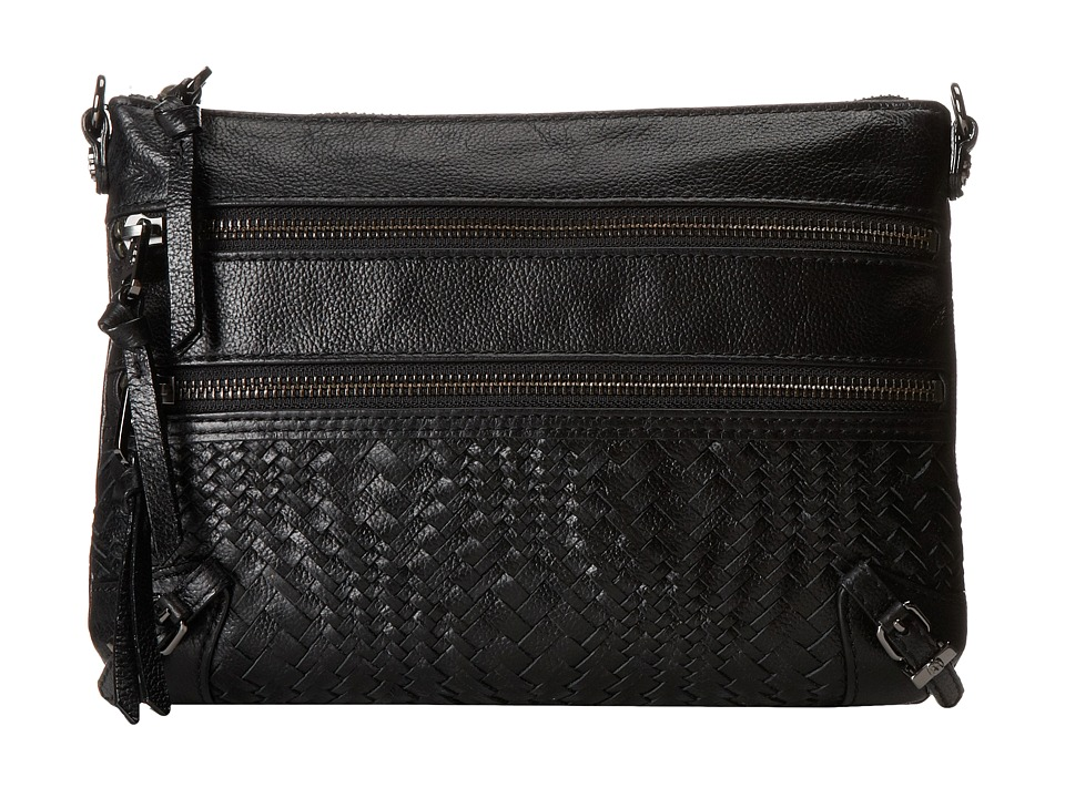 Elliott Lucca Bali 89 3 Zip Clutch Black Devi Weave Clutch Handbags
