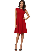 Maggy London - Cap Sleeve Fit & Flare Dress w/ Pleather Trim