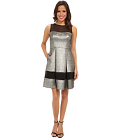 Vince Camuto - Sleeveless Mesh Illusion Metallic Fit & Flare Dress