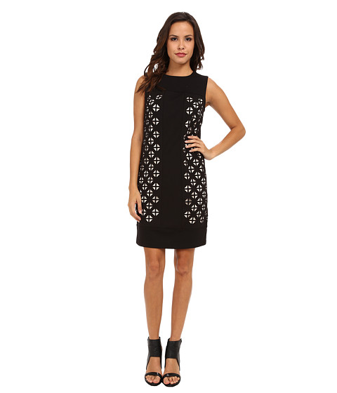 Shop Laundry by Shelli Segal online and buy Laundry by Shelli Segal Laser Cut Ponte Dress Black Online - Laundry by Shelli Segal - Laser Cut Ponte Dress (Black) - Apparel: Make the first move, no move at all, by luring them in with a Laundry by Shelli Segal dress. ; Ponte shift dress features laser cut geometric designs throughout the front, revealing the contrast lining beneath. ; Sleeveless silhouette has a round neckline. ; Exposed back zipper in back. ; Straight hemline. ; Lined under laser-cut panels only. ; 77% polyester, 20% rayon, 3% spandex; Lining: 100% polyester. ; Machine wash cold, tumble dry low. ; Imported. Measurements: ; Length: 36 in ; Product measurements were taken using size 4. Please note that measurements may vary by size. ; Keep your clothing clean, in place, and in style with these products! Hollywood's best-kept Fashion Secrets: