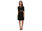KAMALIKULTURE Peek-A-Boo Mesh Flare Dress (Black/Black Lace)