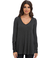 Three Dots - L/S A-Line Top w/ Leather Trim
