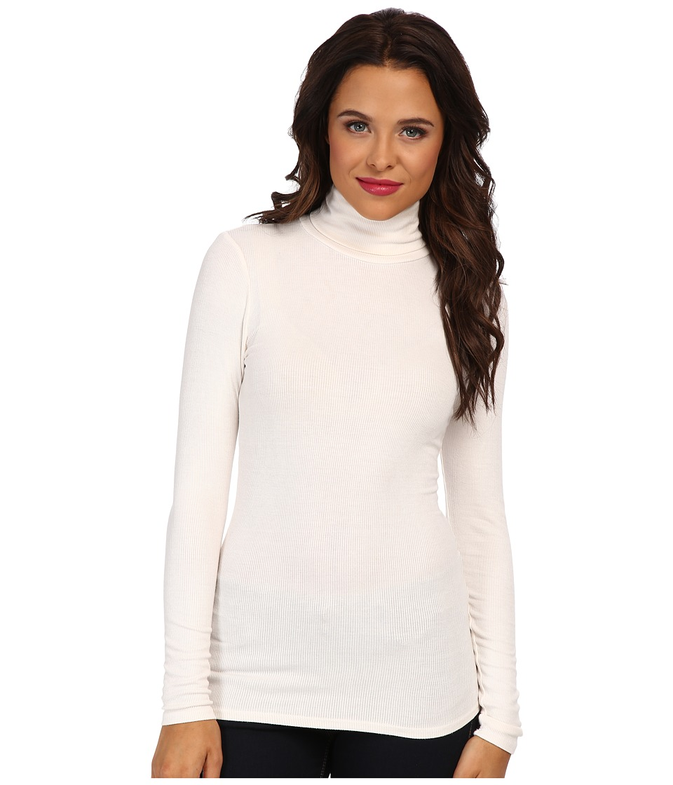 Three Dots 2x1 Viscose L/S Turtleneck (Gardenia) Women