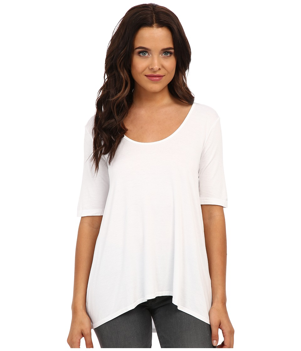 Three Dots - 1/2 Sleeve Relaxed High Low Tee (White) Womens Short Sleeve Pullover